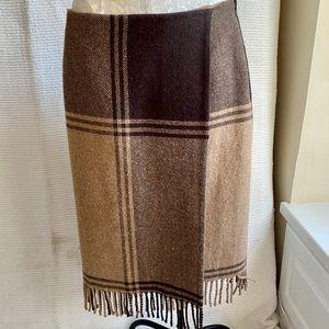 """Worth 8/10 Wool Plaid Blanket """"Wrap"""" Skirt Brown"""